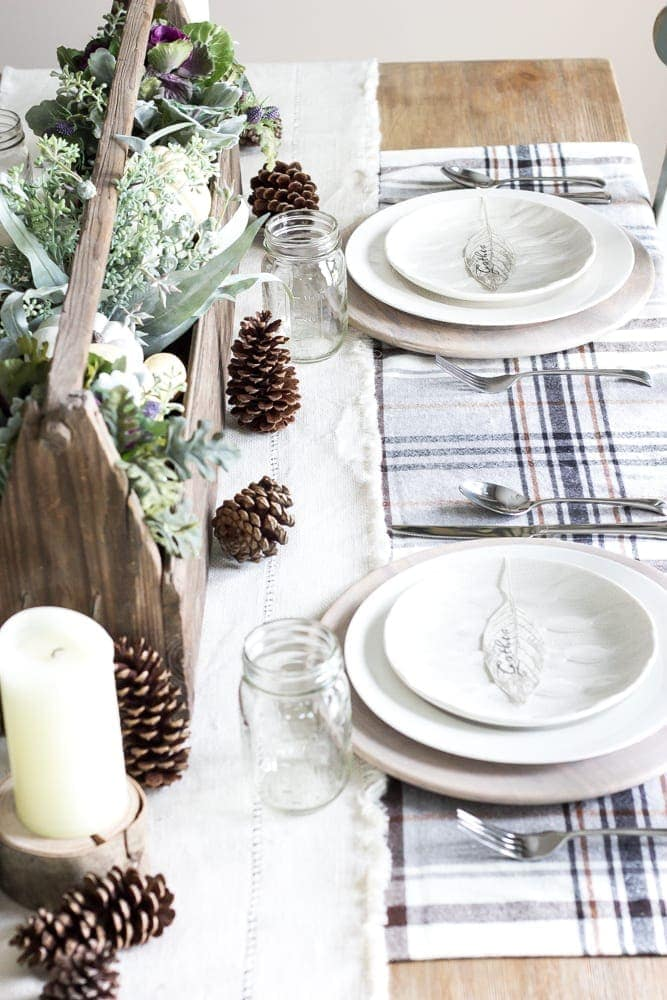 Gather Leaf Place Card Printable | blesserhouse.com - A sweet and simple place card free printable plus an early fall neutral tablescape.