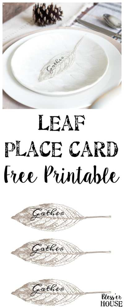 Gather Leaf Place Card Printable   blesserhouse.com - A sweet and simple place card free printable plus an early fall neutral tablescape.