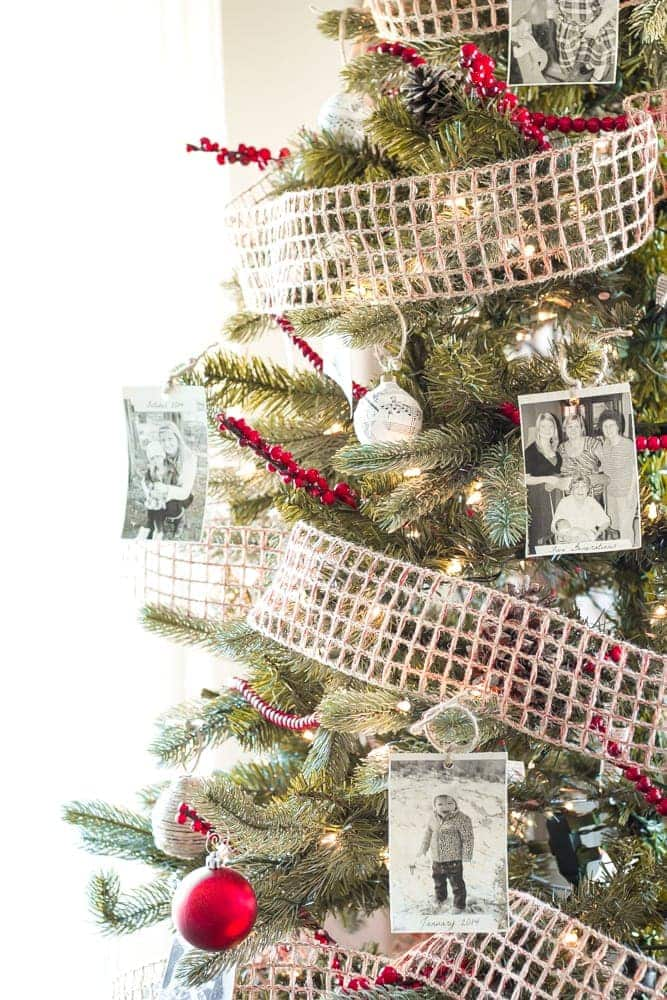 Thrifty Christmas decorating idea: print old family photos to hang on your tree and capture memories