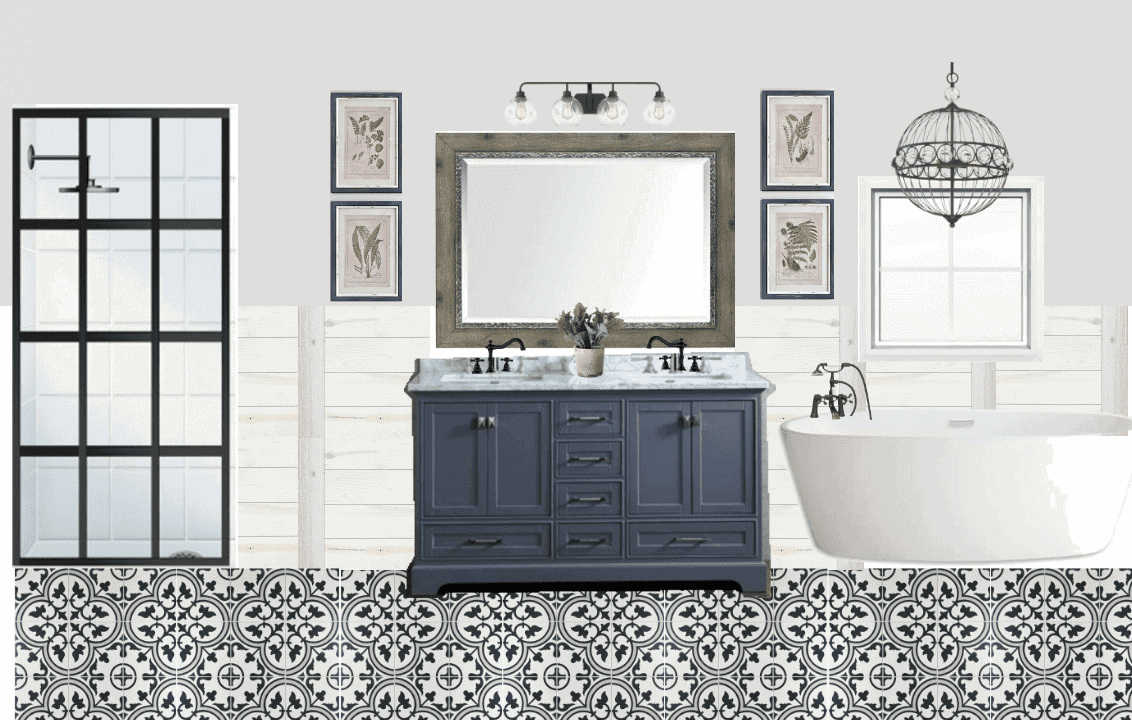 Lowe's Makeover Before and Bathroom Design Plan   blesserhouse.com - A full bathroom design plan with industrial and modern farmhouse elements using DIY project ideas for the Spring 2017 Lowe's Makeover.