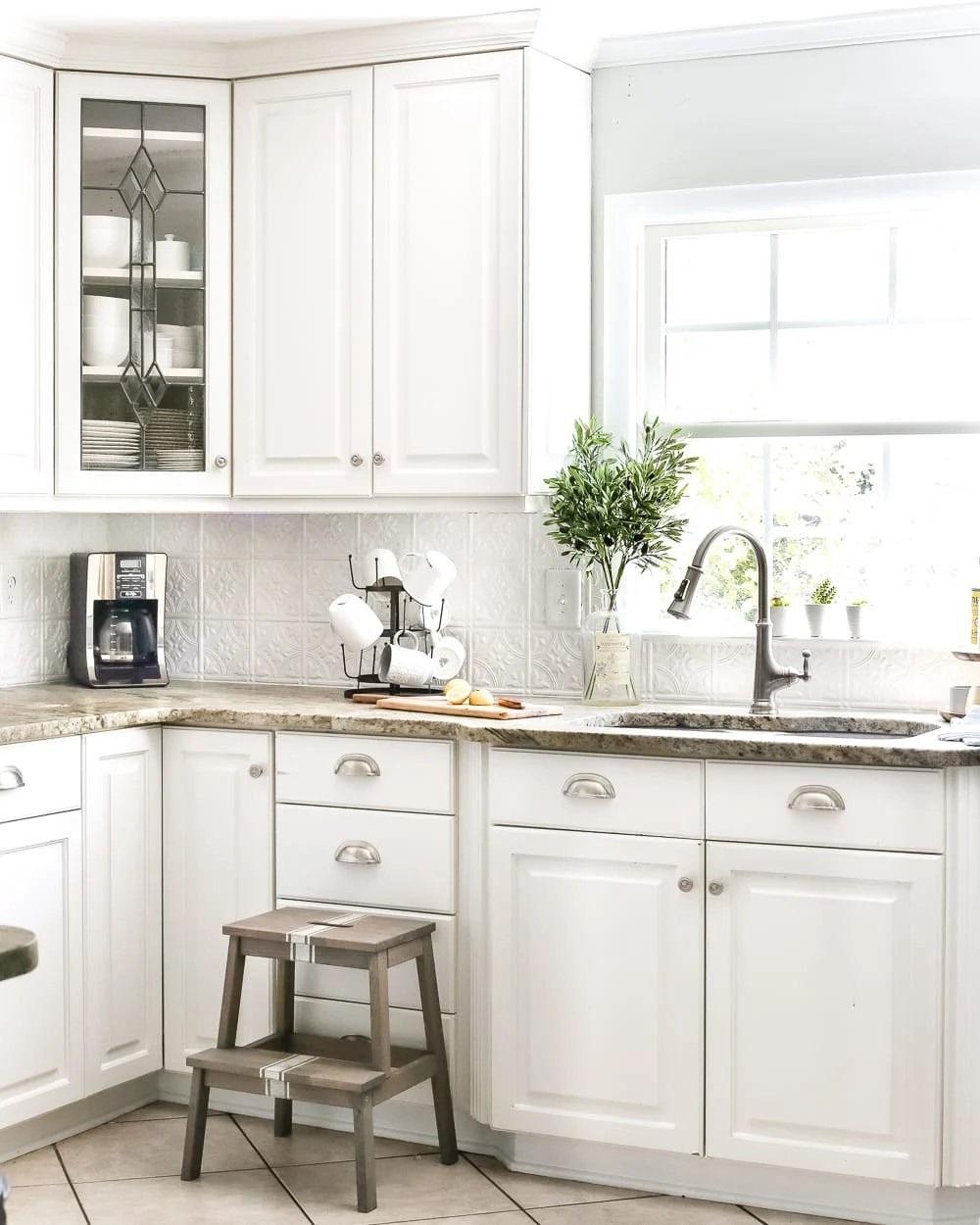 tin kitchen backsplash lowes undermount sink diy pressed bless er house blesserhouse com how to makeover a