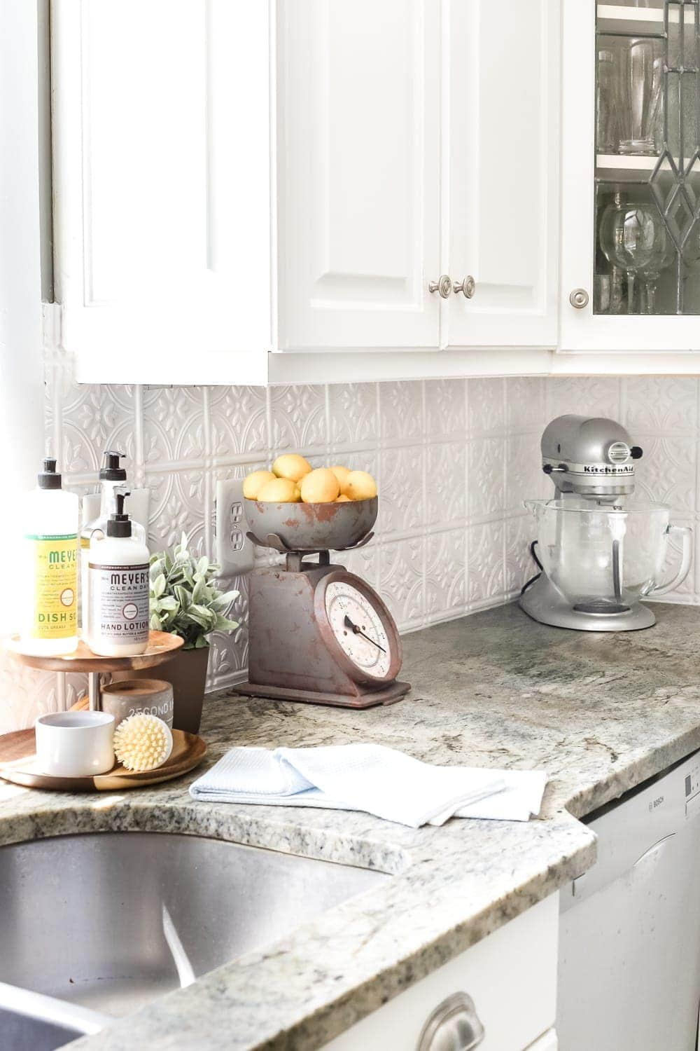 tin kitchen backsplash bar chairs diy pressed bless er house blesserhouse com how to makeover a