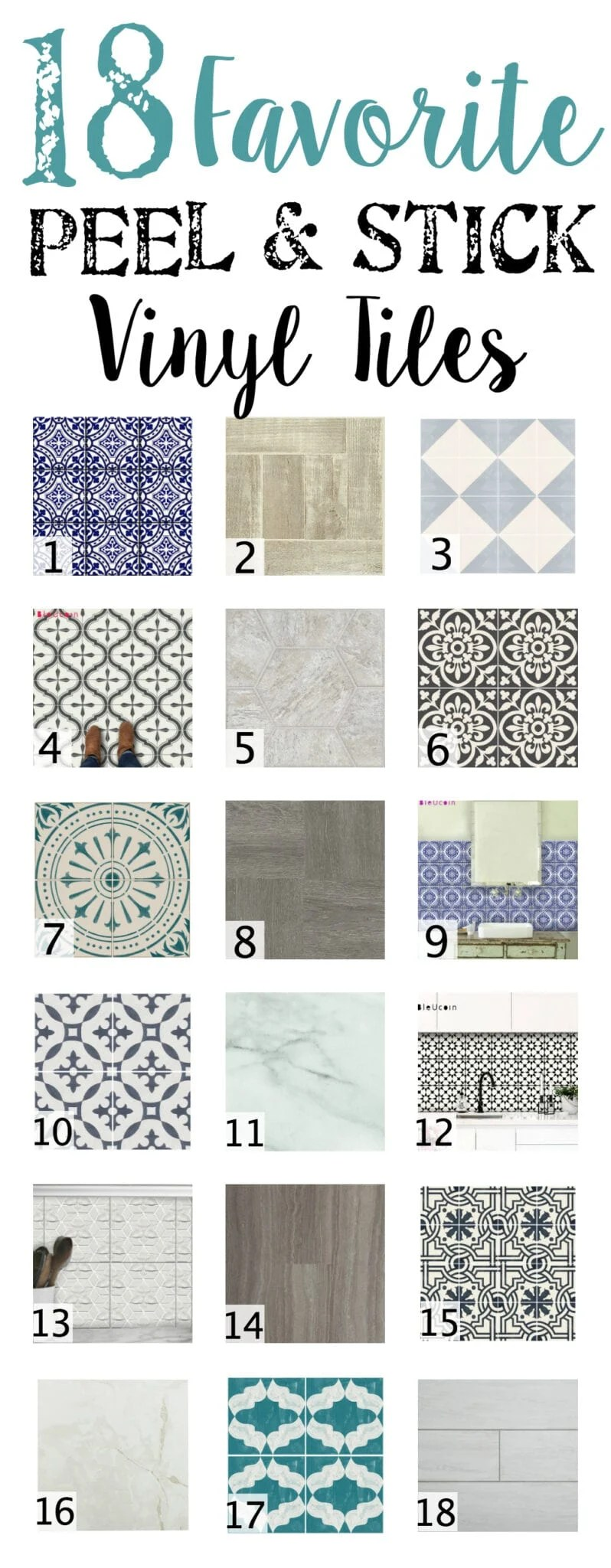18 Favorite Peel and Stick Vinyl Tiles | blesserhouse.com - A shopping guide round-up of 18 of the best peel and stick vinyl tiles in wood-looks, stone-looks, and trendy patterns. Quick, easy, and no-mess.