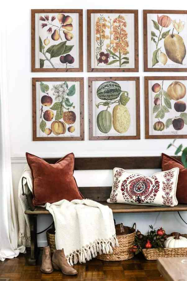 8 Fall Decorating Tips on a Budget + Fall Home Tour 2017 | blesserhouse.com - 8 fall decorating tips for a small budget with ways to shop smart in clearance aisles and thrift stores + a full autumn home tour. Fall entryway gallery wall printables