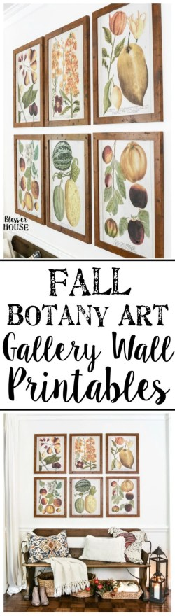 Fall Botany Art Gallery Wall Printables | blesserhouse.com - A free printable set of 6 fall botany art prints for a gallery wall, plus a bloghop with 29 autumn-inspired printables for the home.