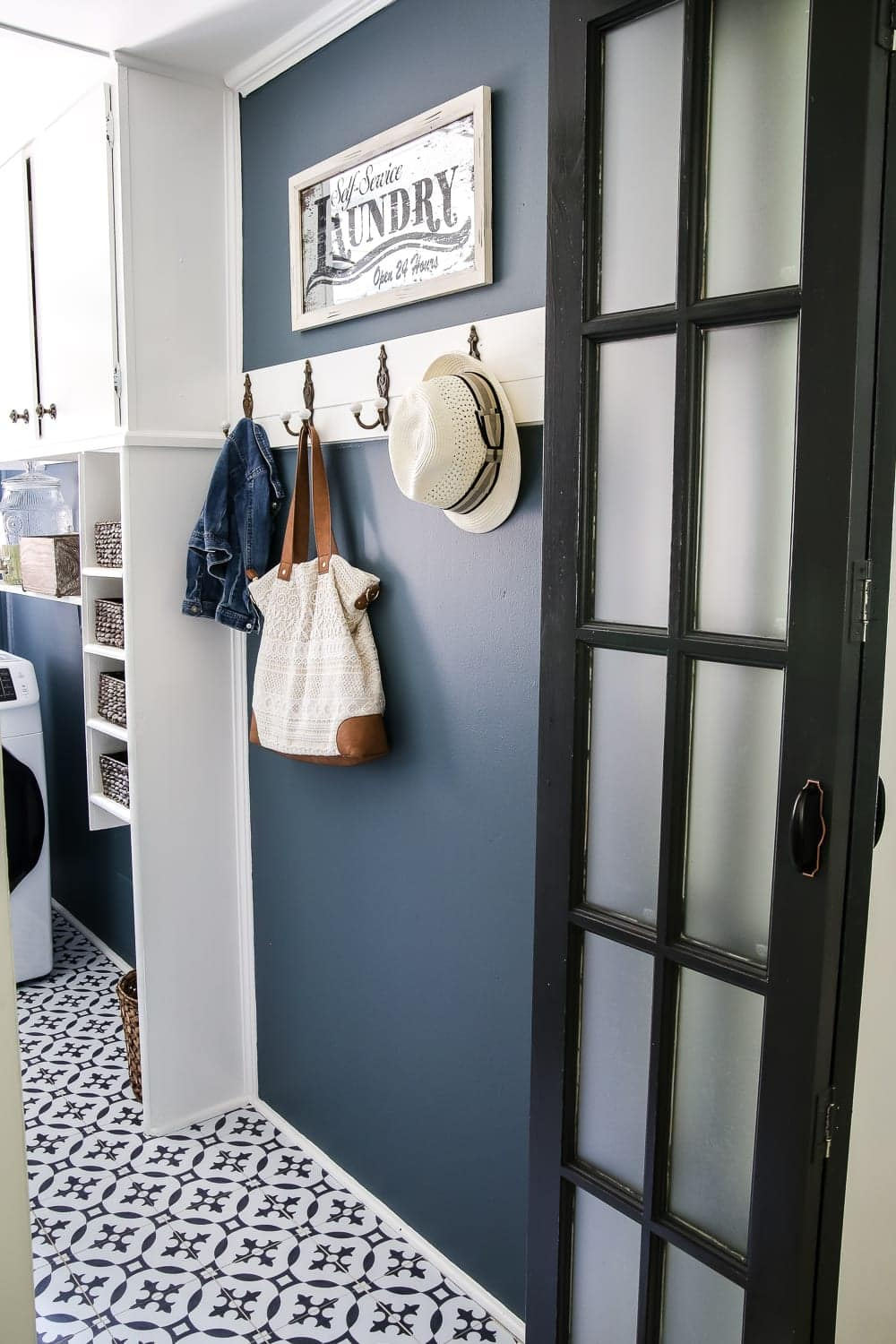 Hooks in a laundry room mudroom
