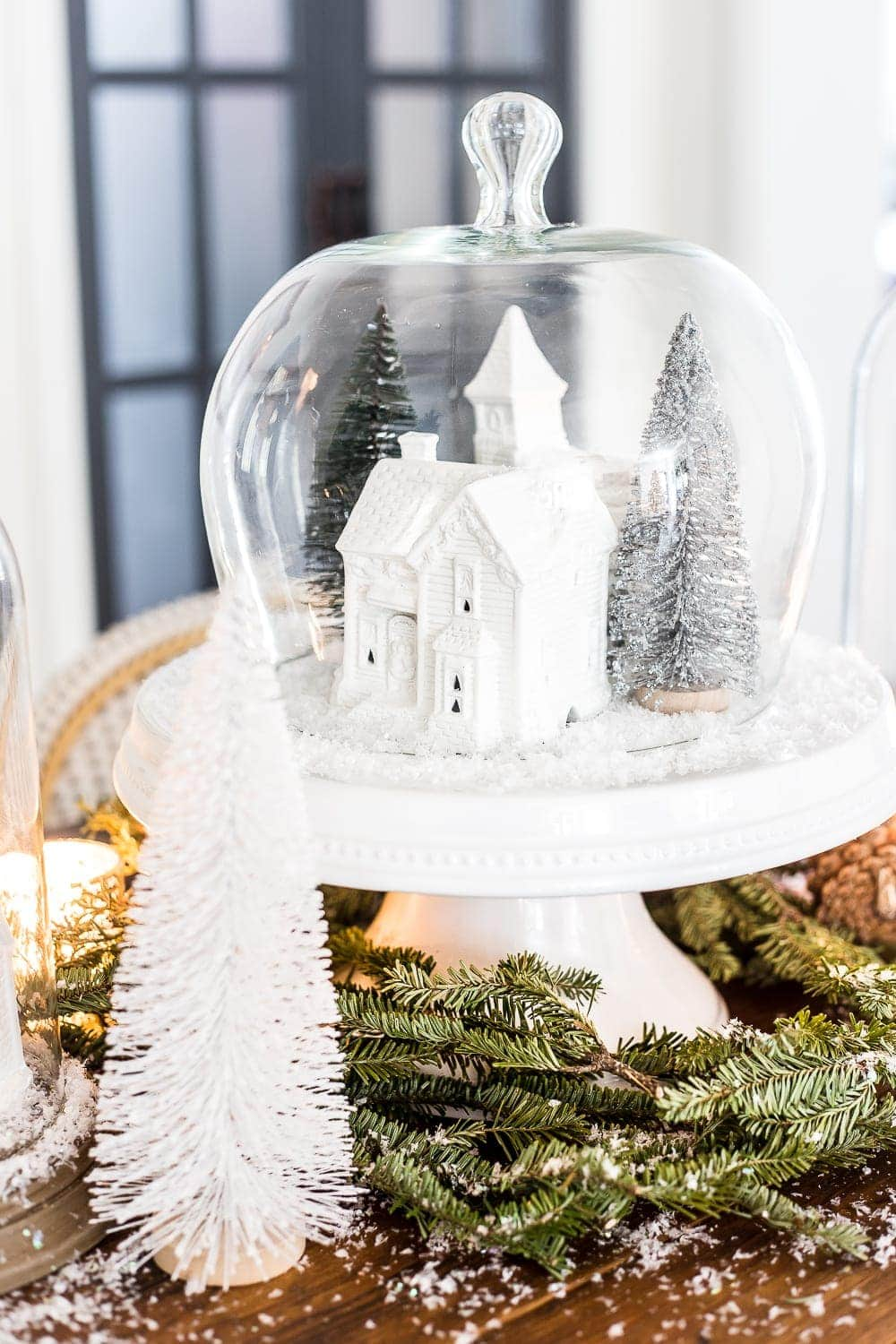 Thrifty Christmas decorating idea: spray paint old ceramic villages for a modern look