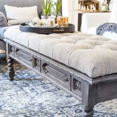 DIY Ottoman Bench from a Repurposed Coffee Table