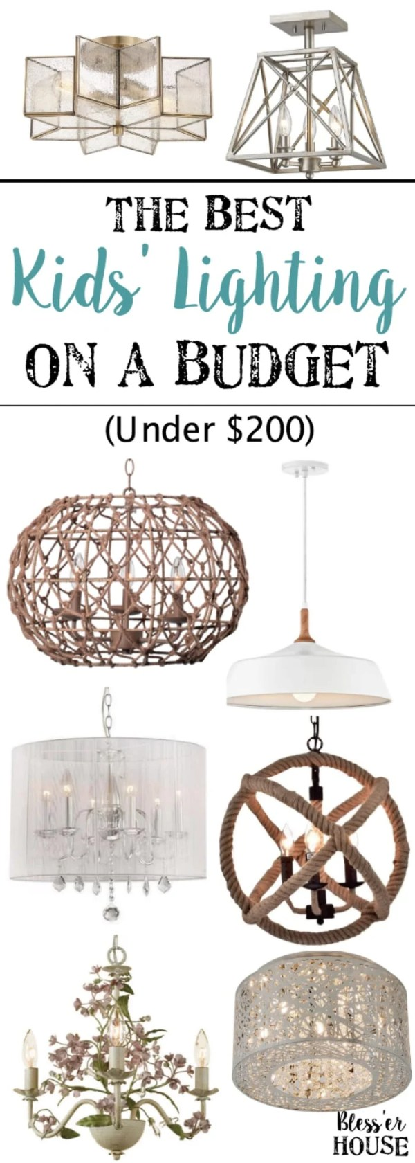 30 beautiful chandeliers, pendant lights, and flush mount lights for kids' rooms and playrooms for boys, girls, or neutrals and all for less than $200. #kidsdecor #playroom #kidsroom #girlsroom #boysroom #lighting
