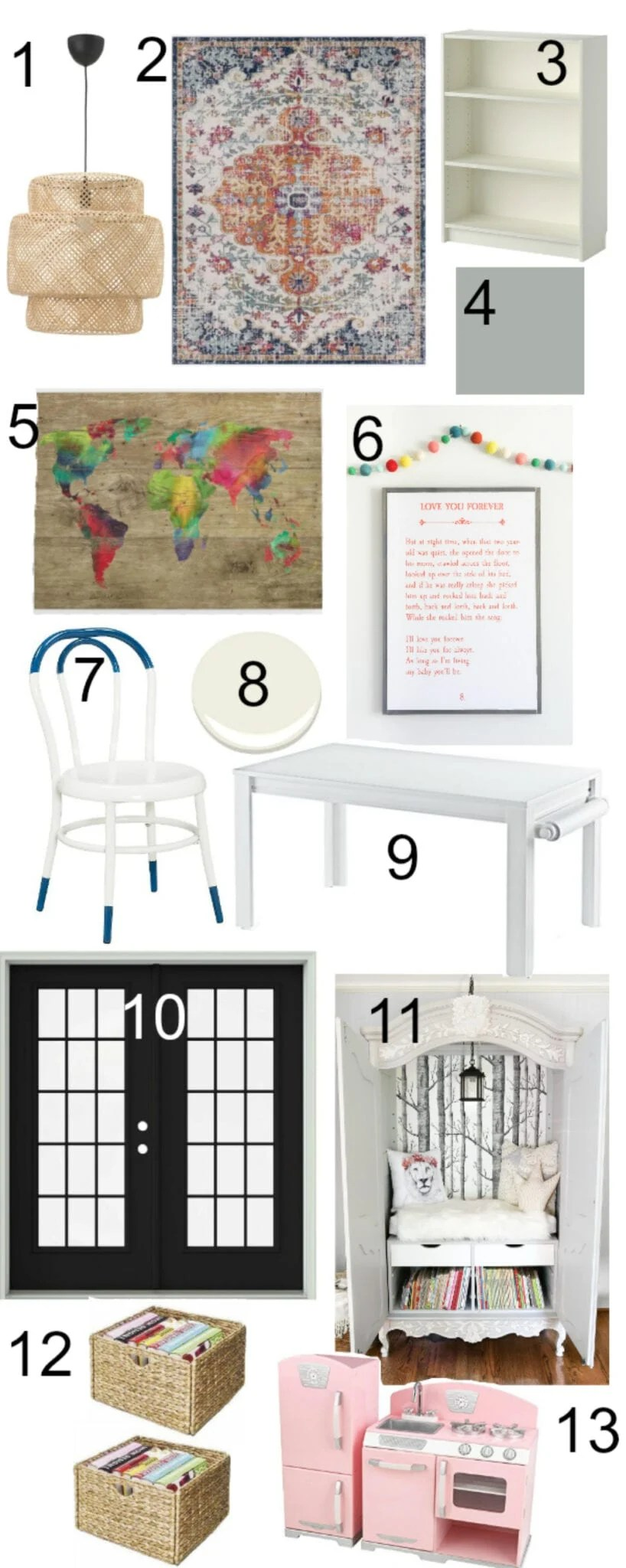 Sweet and Simple Playroom Mood Board | blesserhouse.com - A dated and disorganized playroom gets a fresh, modern, sweet design plan with storage solutions, bright colorful accents, and room to create. #playroom #designboard #moodboard #kidsroom