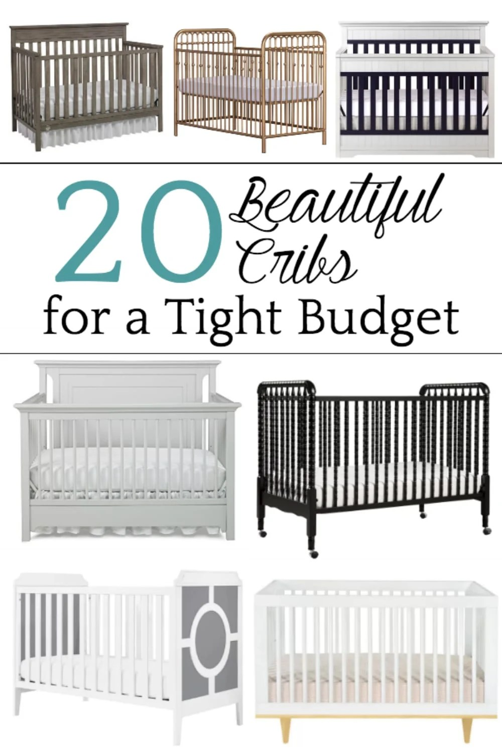 A shopping guide round-up of 20 designer-style beautiful cribs for a tight budget $200 or less. #shoppingguide #nursery #nurserydecor #cribs #babycribs #budgetdecor #budgetshopping #nurseryfurniture #nurserycrib