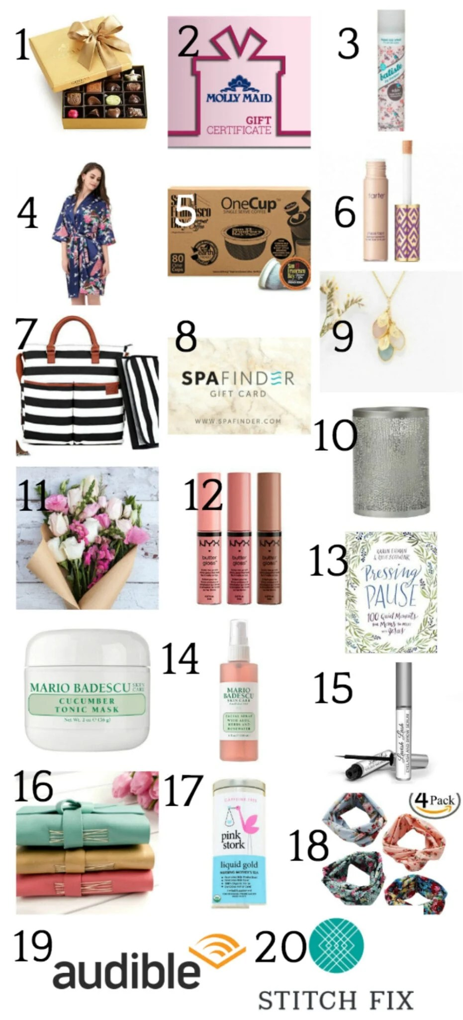 A gift guide with 20 gift ideas for new moms on Mother's Day or any day you feel like pampering her. #mothersdaygiftguide #mothersdaygift #mothersdaygiftideas #momgiftideas #momgiftguide #newmom #newmomgiftguide #newmomgiftideas #postpartumgiftideas #postpartumgiftguide