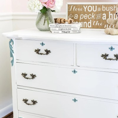 Aqua and White French Dresser Makeover