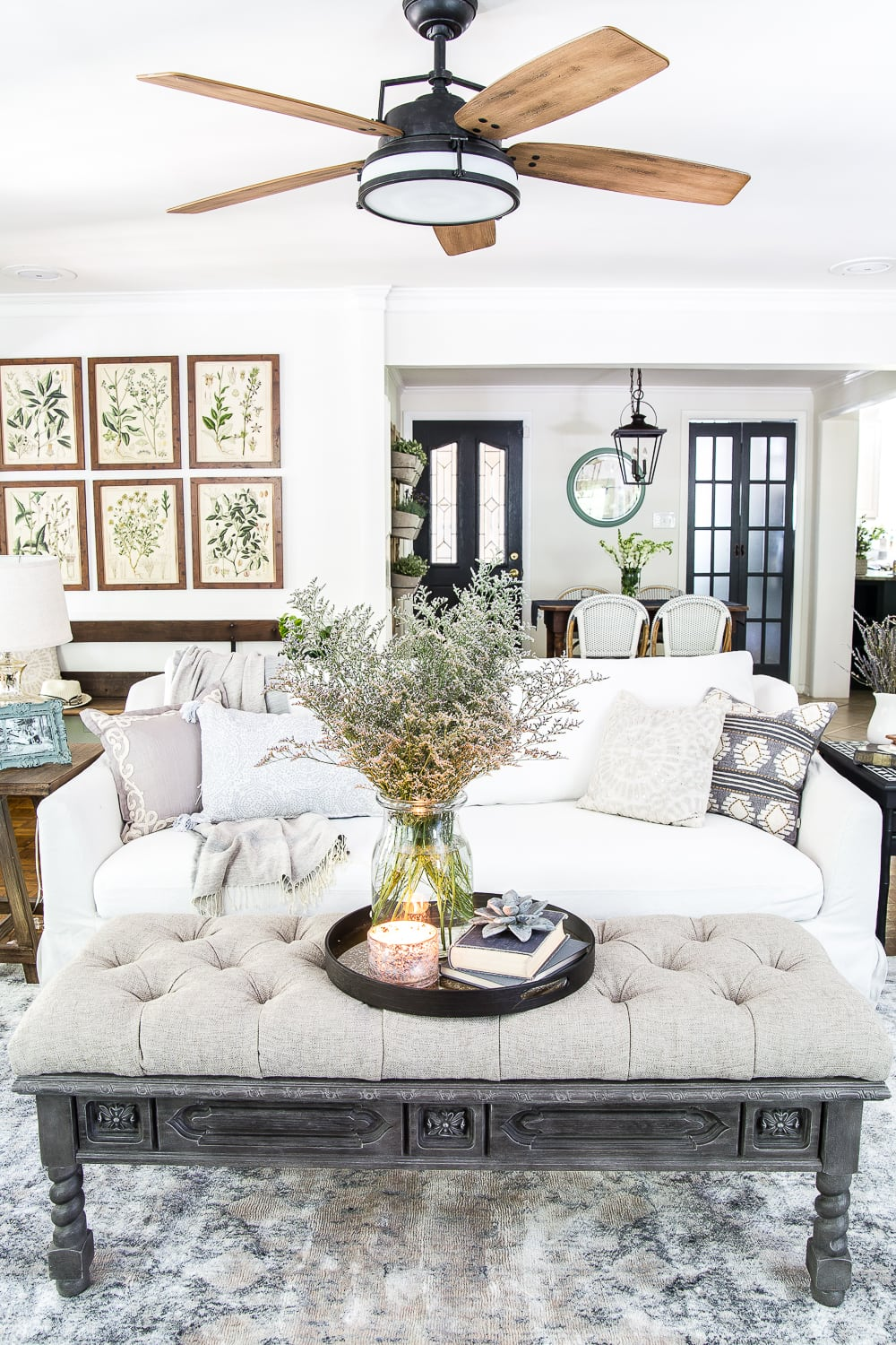 light and airy summer living room