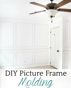A step-by-step tutorial for hanging picture frame molding wainscoting and a shortcut to make it easier. #pictureframemolding #wainscoting #molding