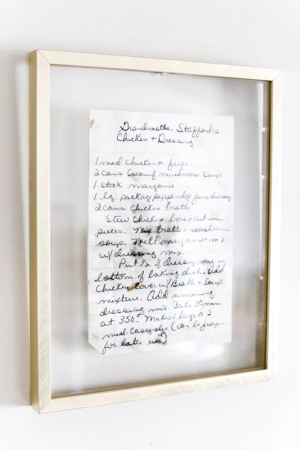 Sentimental art idea - preserve and frame handwritten recipes and letters