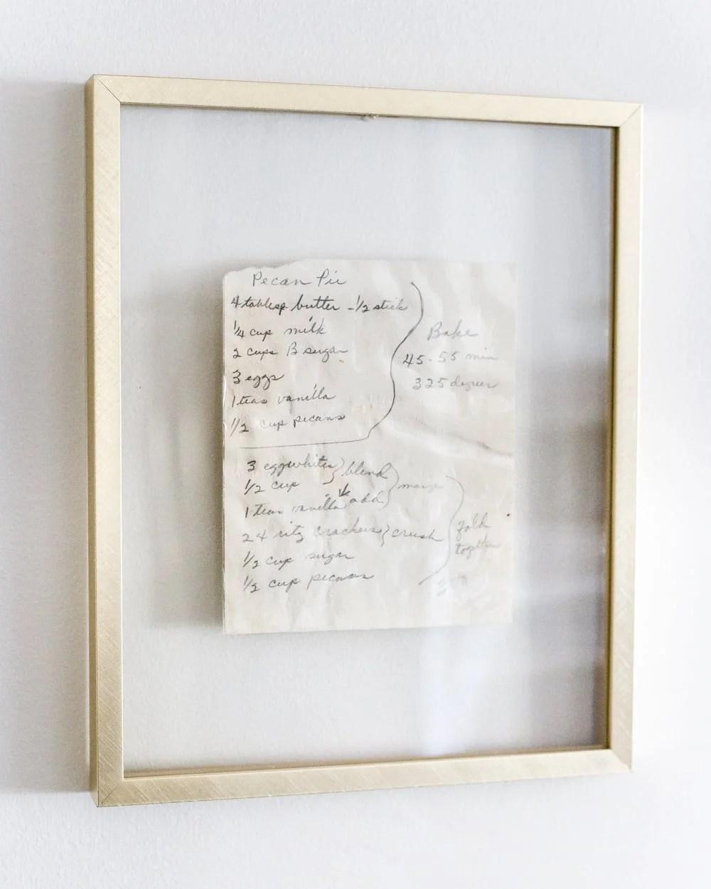 framed handwritten recipe art in float frame