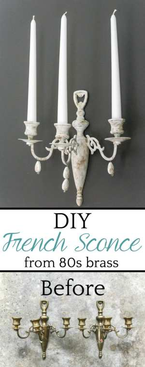 How to turn a dated brass piece into a Restoration Hardware-inspired French sconce using paint samples and jewelry beads. #frenchsconce #sconce #walldecor