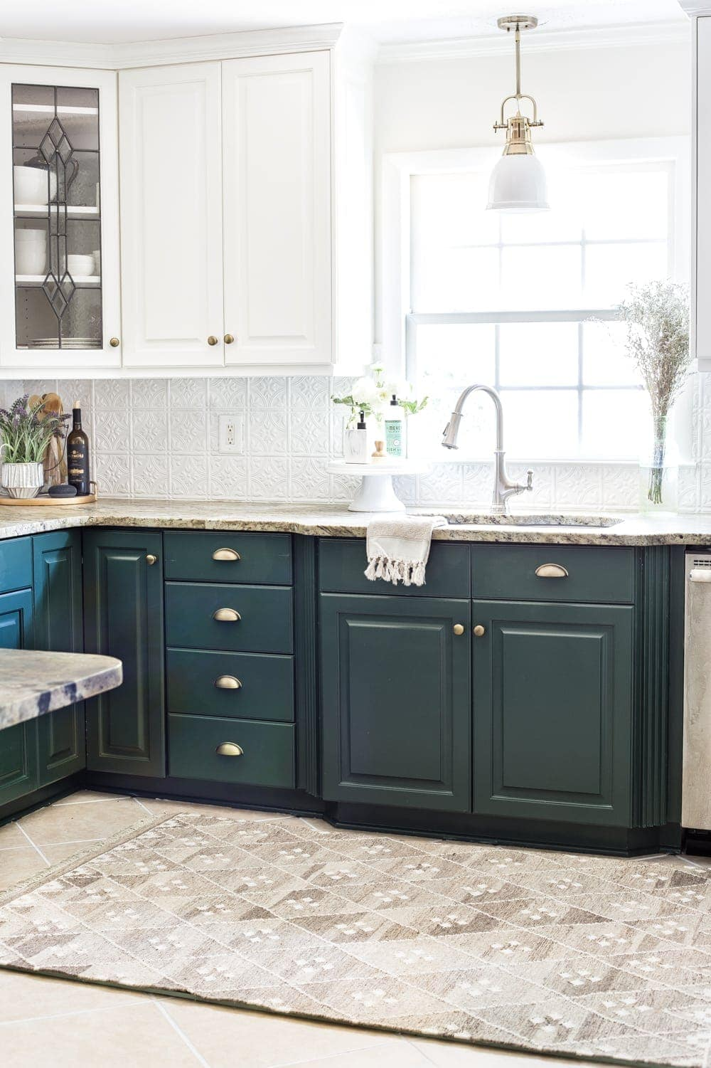 deep green kitchen cabinets and memory foam kitchen rug