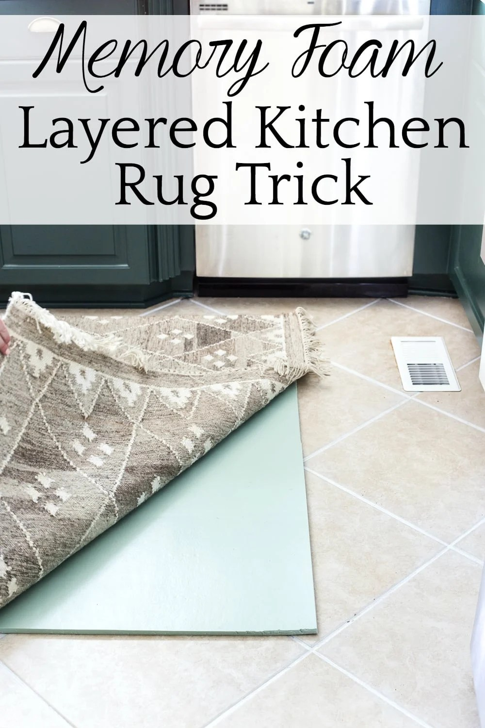 kitchen rug wooden cabinets memory foam layered and tile grout refresh bless er house how to cheaply easily add comfort your floor with