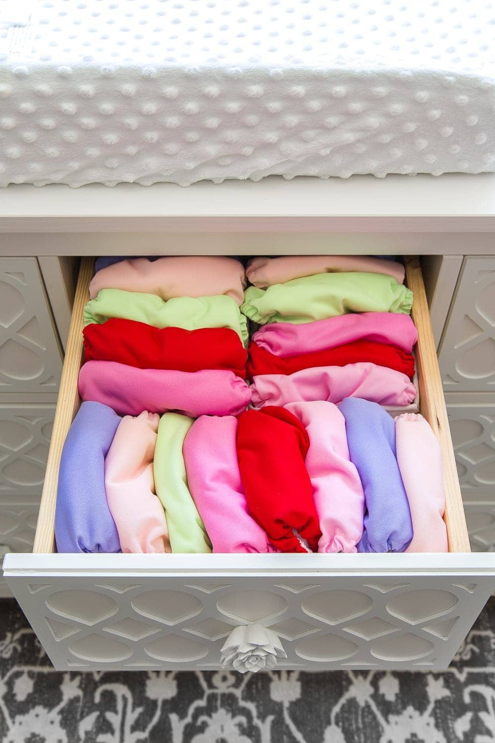 Nursery Organization | Dresser drawers with dividers to store cloth diaper covers
