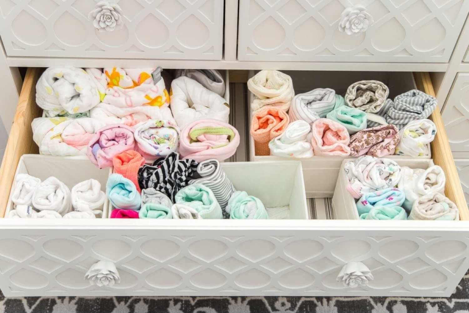 Nursery Organization | Dresser drawers with dividers to store baby clothes and swaddles in categories
