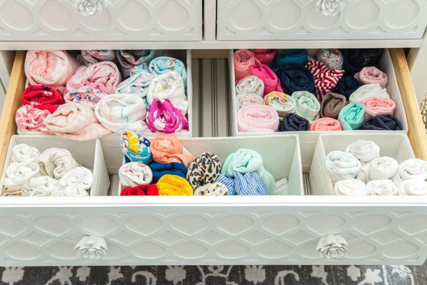 Nursery Organization | Dresser drawers with dividers to store baby clothes in categories