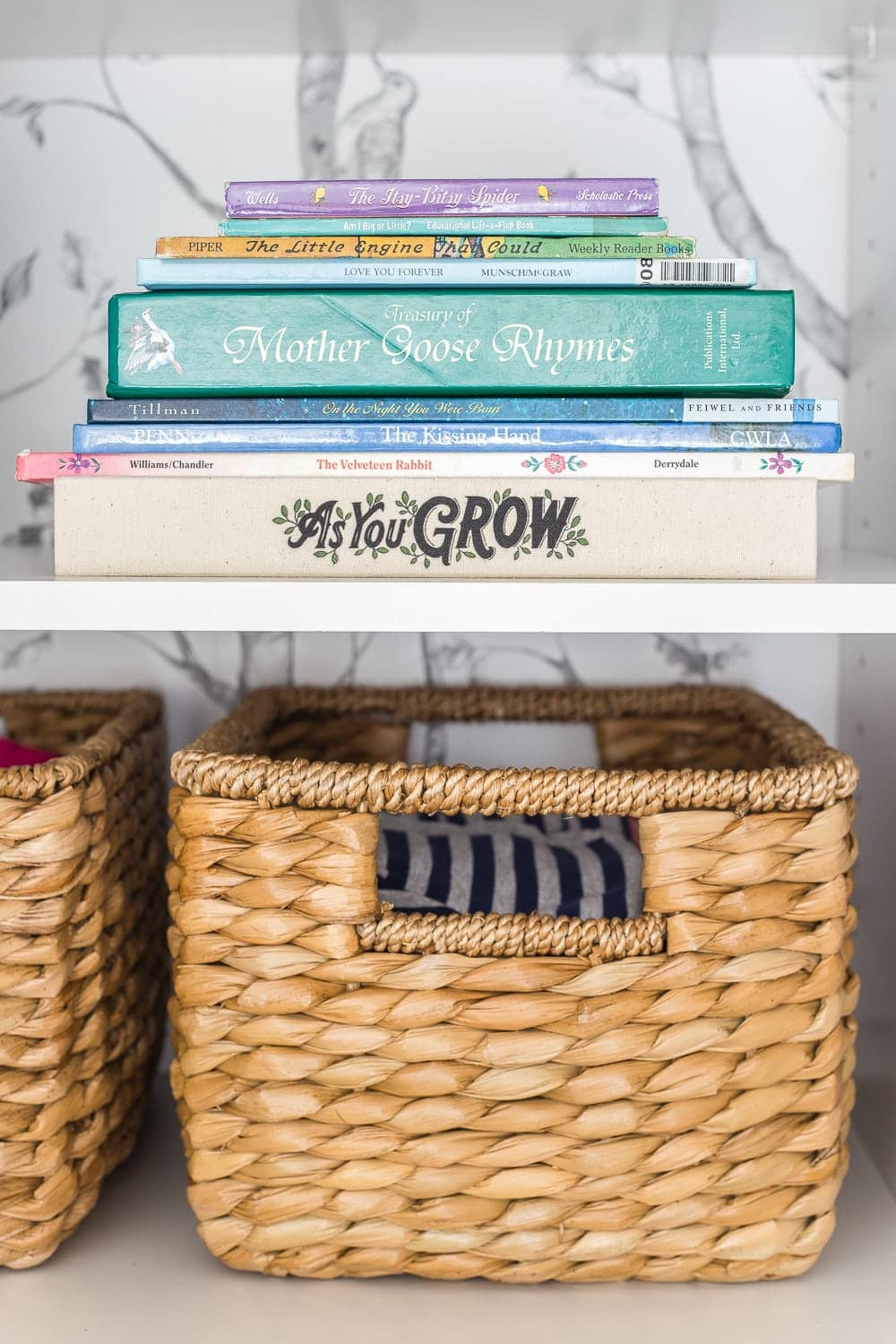 Nursery closet organization with shelving for books