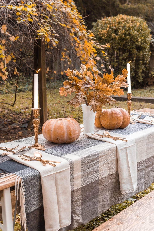 Thanksgiving alfresco beer garden table outdoors