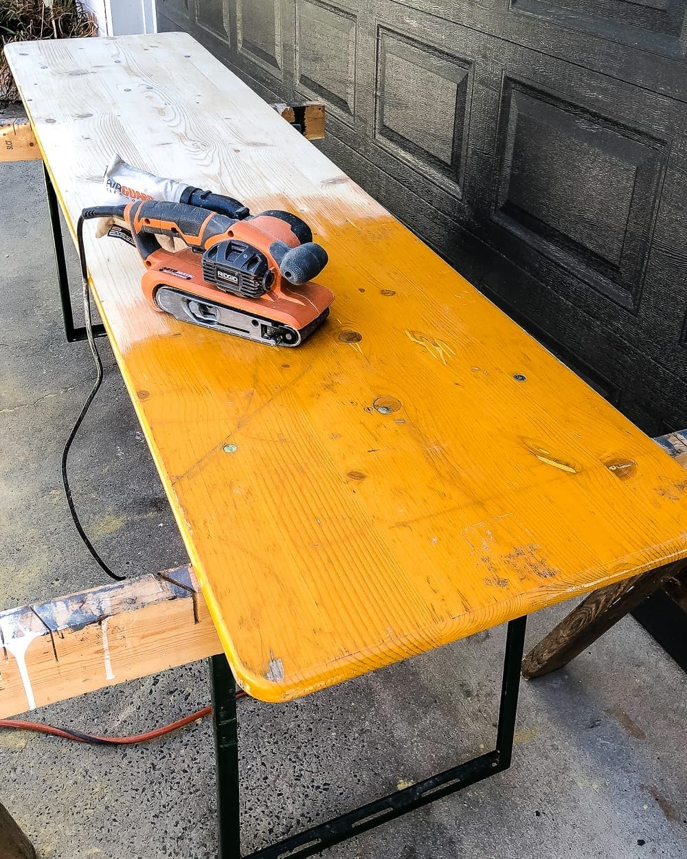 How to refinish an antique beer garden table