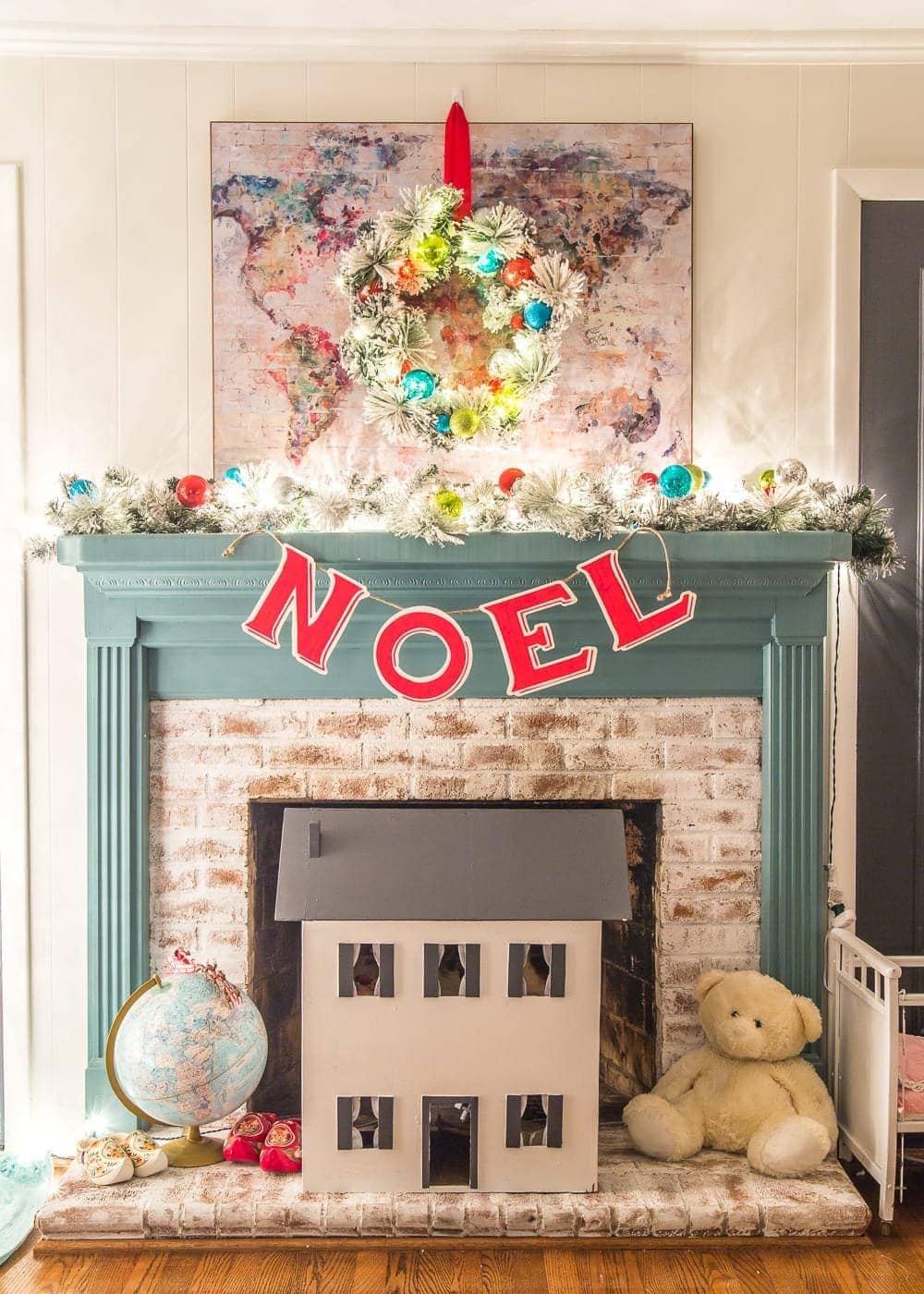 Christmas Candlelight Night Tour | Playroom Fireplace Mantel