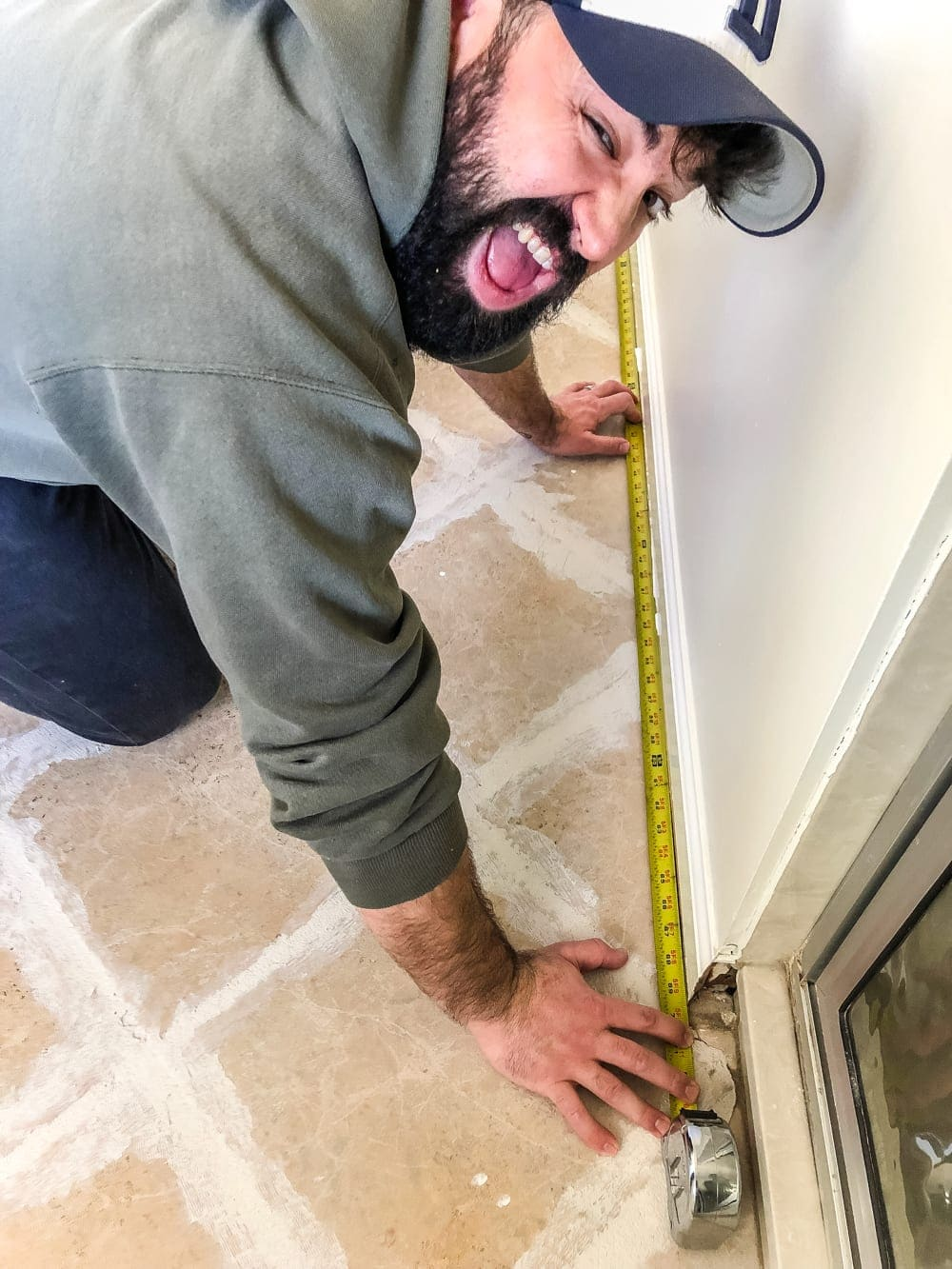 How to install sheet vinyl flooring over old tile | measure... a LOT!
