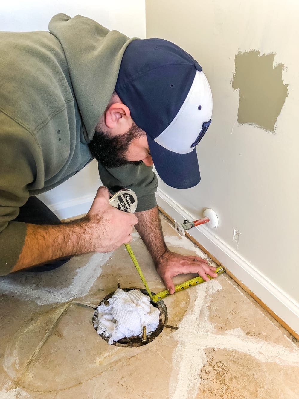 How to install sheet vinyl flooring over old tile   measure for obstacles