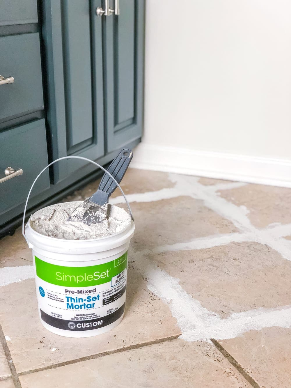 How to install sheet vinyl flooring over old tile | fill grout lines with thin-set mortar