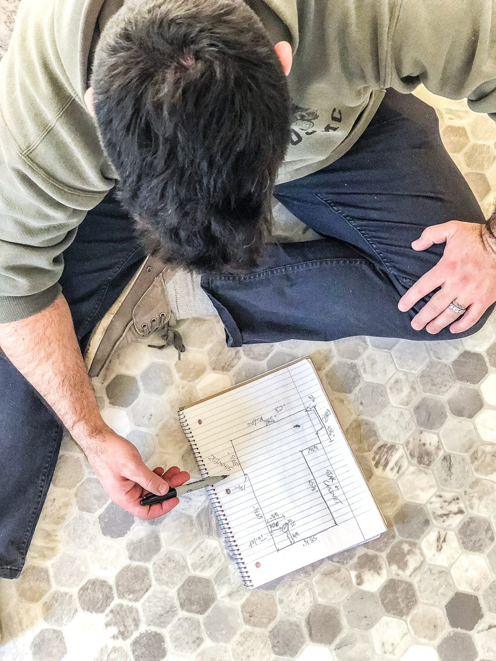 How to install sheet vinyl flooring over old tile | Draw a diagram to create your template