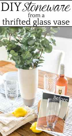 How to add a stoneware look to thrifted glass vases and bottles using just paint. #stoneware #diystoneware #stonewarevase
