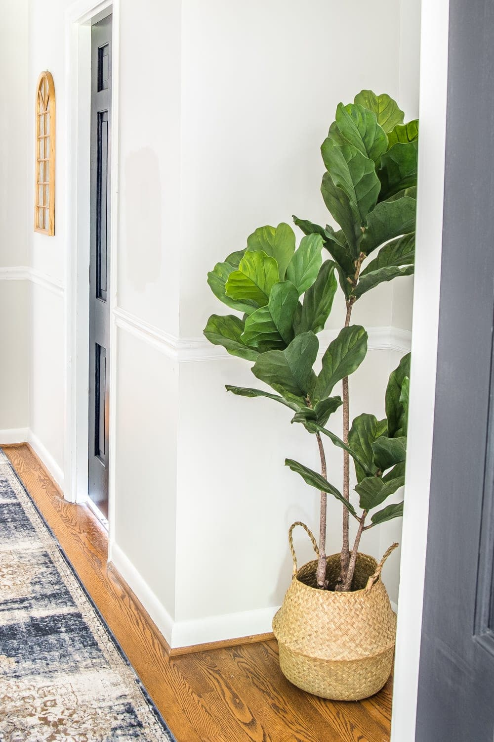 6 Tips to Decorate a Boring Hallway | blesserhouse.com - fiddle leaf fig tree
