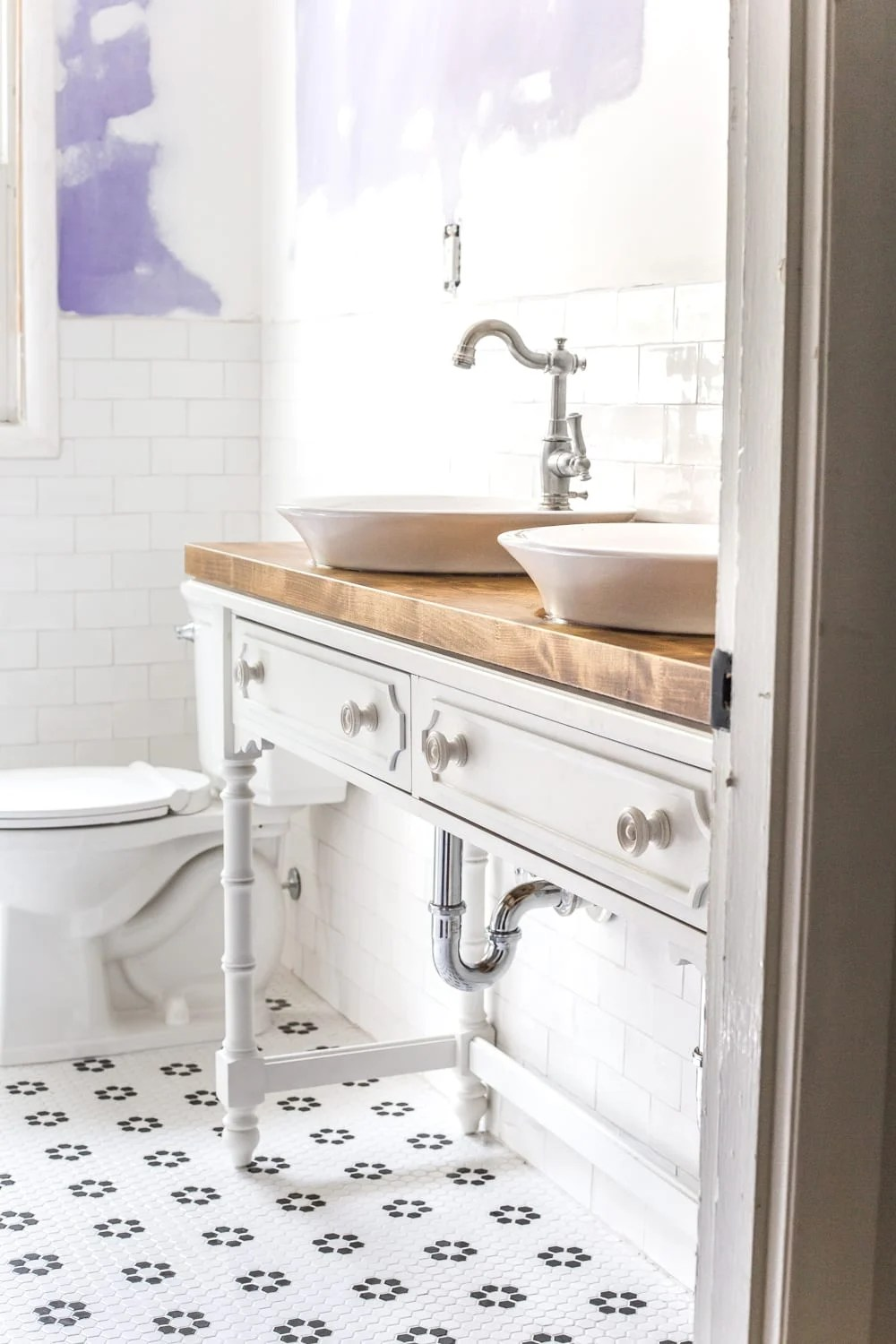 How To Turn A Console Table Into A Bathroom Vanity Bless Er House