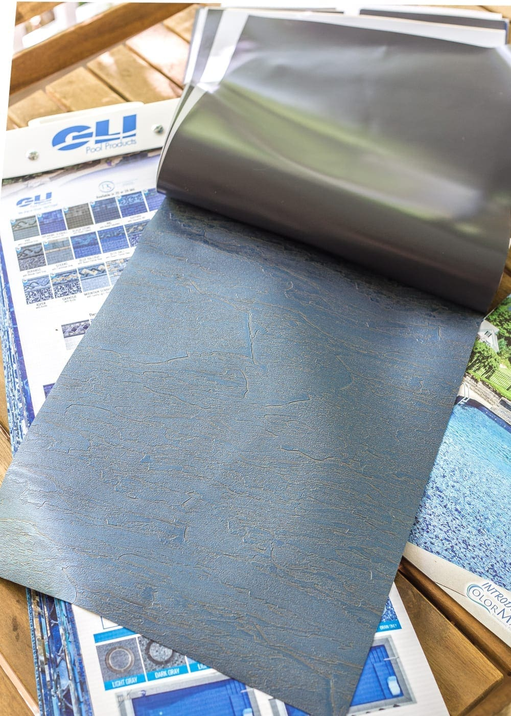 Backyard Before Tour and Pool Makeover Plans | blesserhouse.com - GLI Pool Products Blue Slate Vinyl Liner