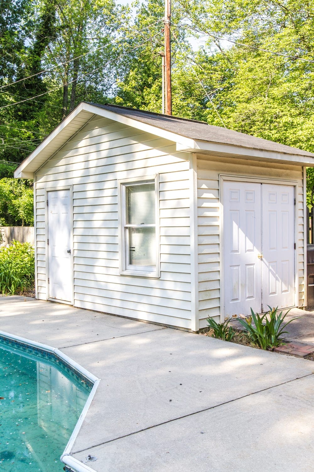 Backyard Before Tour and Pool Makeover Plans | blesserhouse.com - Ideas to improve an outdoor pool and garden shed