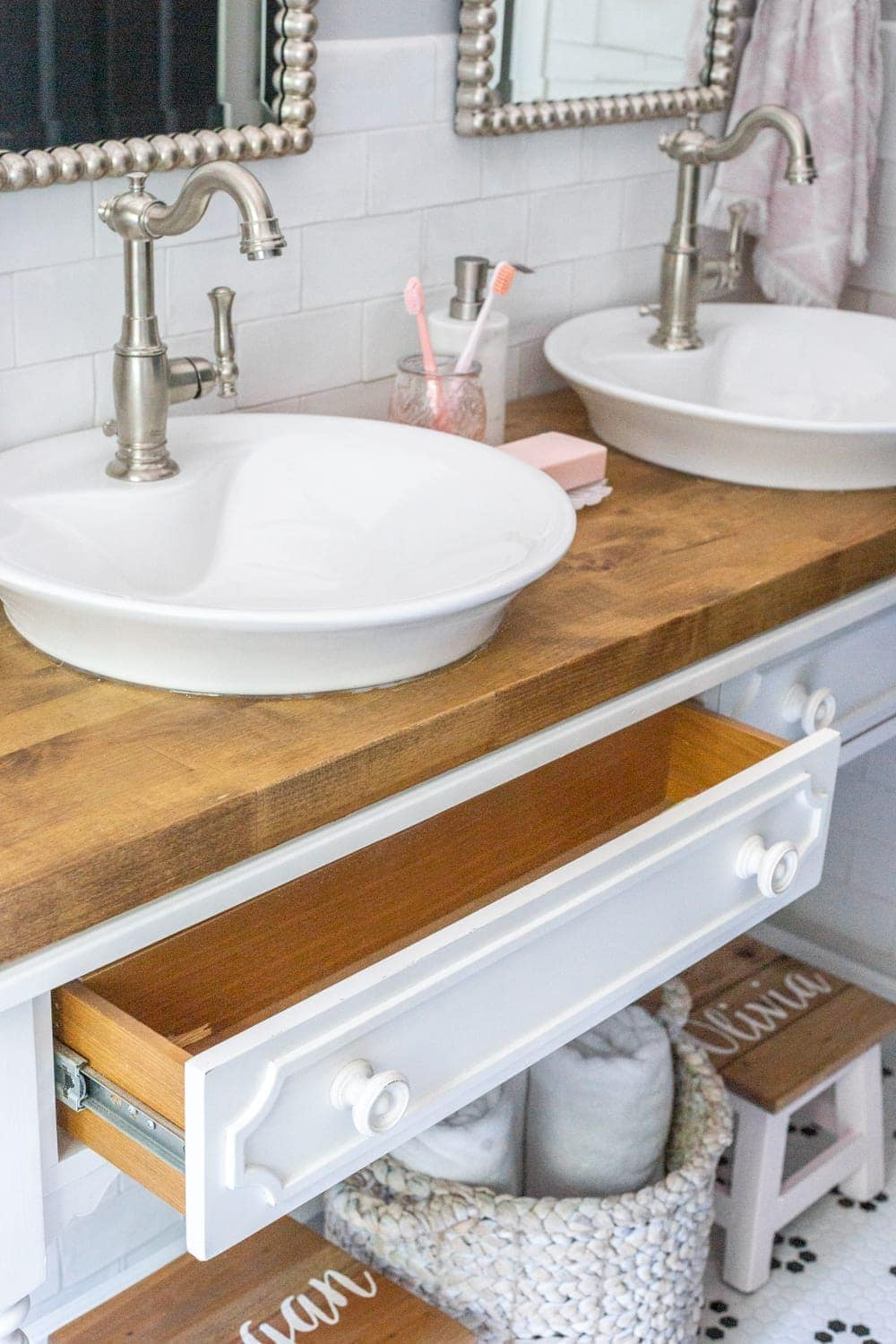 Girls' Bathroom Decor Details & Sources | Console table converted into a vanity with vessel sinks