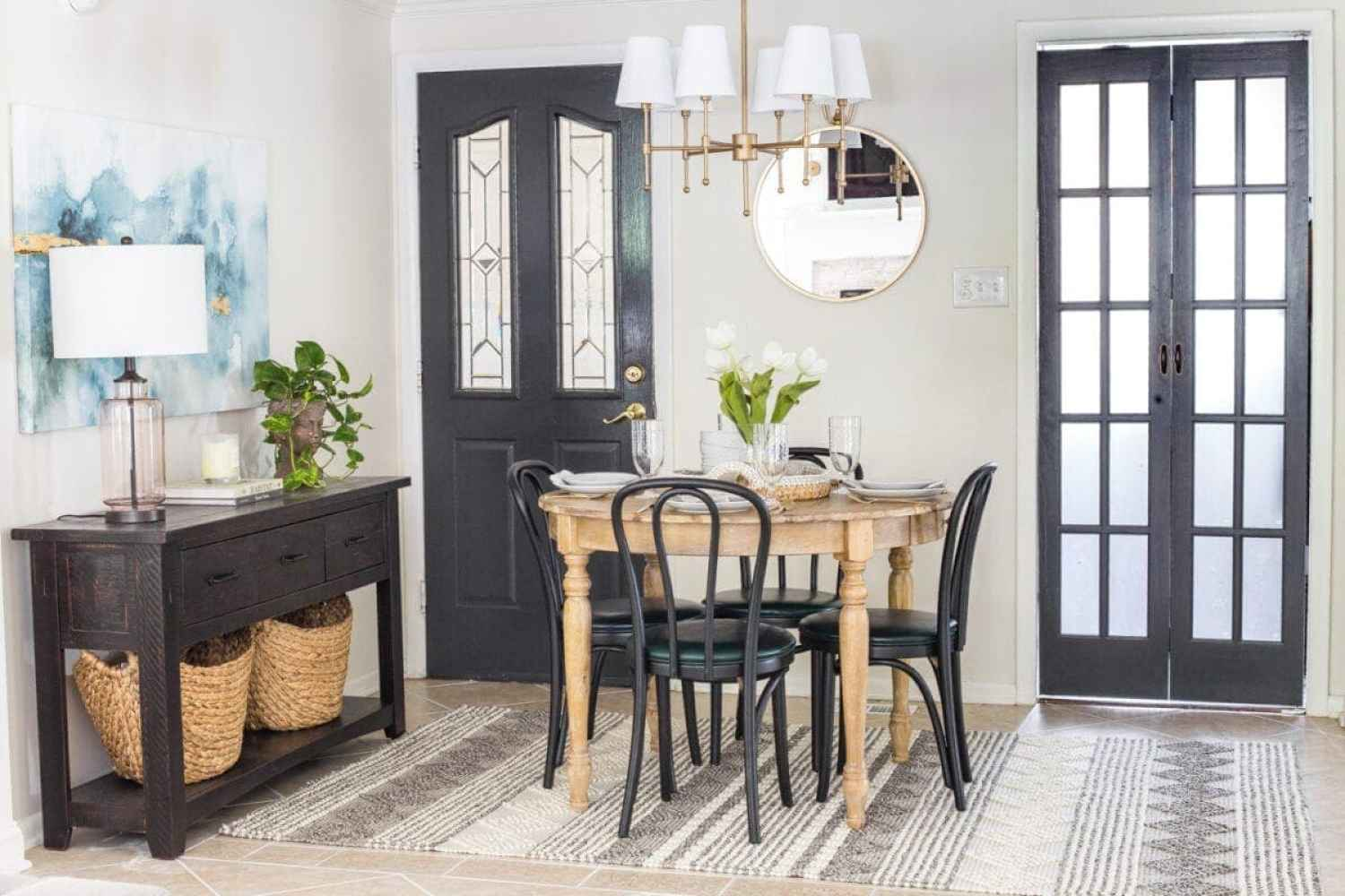 How a small, oddly laid out breakfast nook entryway got a makeover to maximize on storage, function, traffic flow, and modern style.