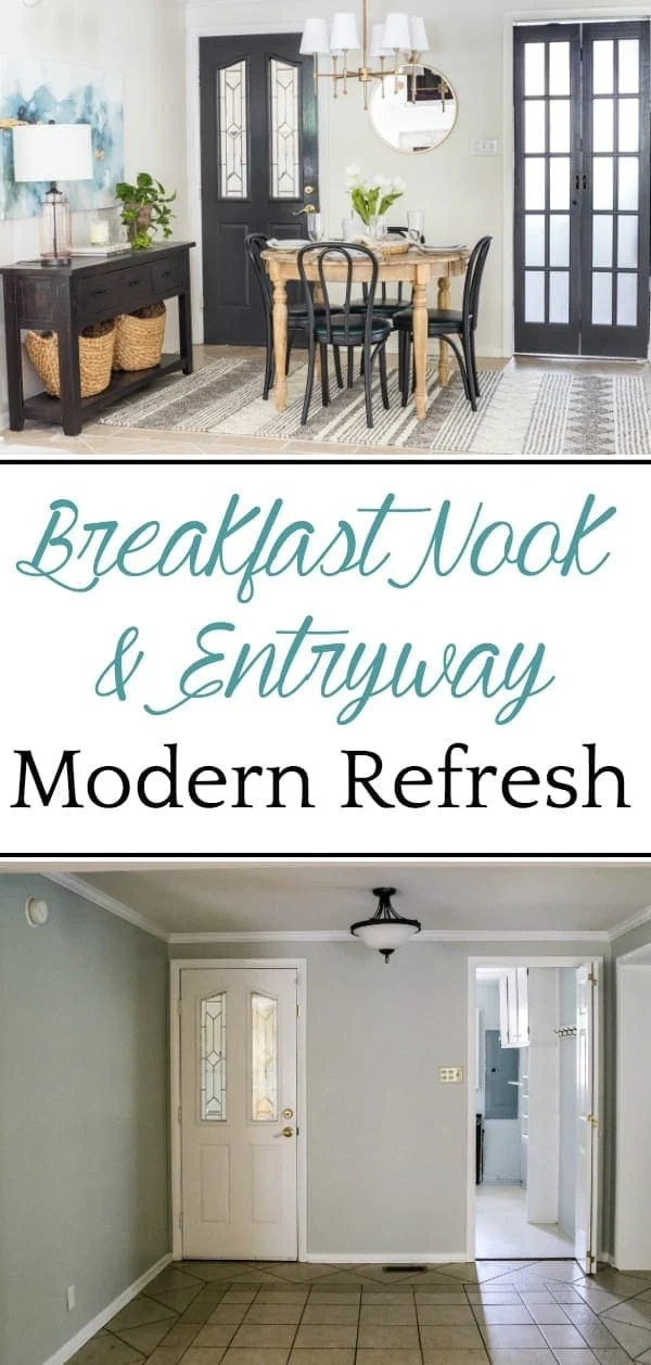Breakfast Nook Refresh Makeover | How a small, oddly laid out breakfast nook entryway got a makeover to maximize on storage, function, traffic flow, and modern style.