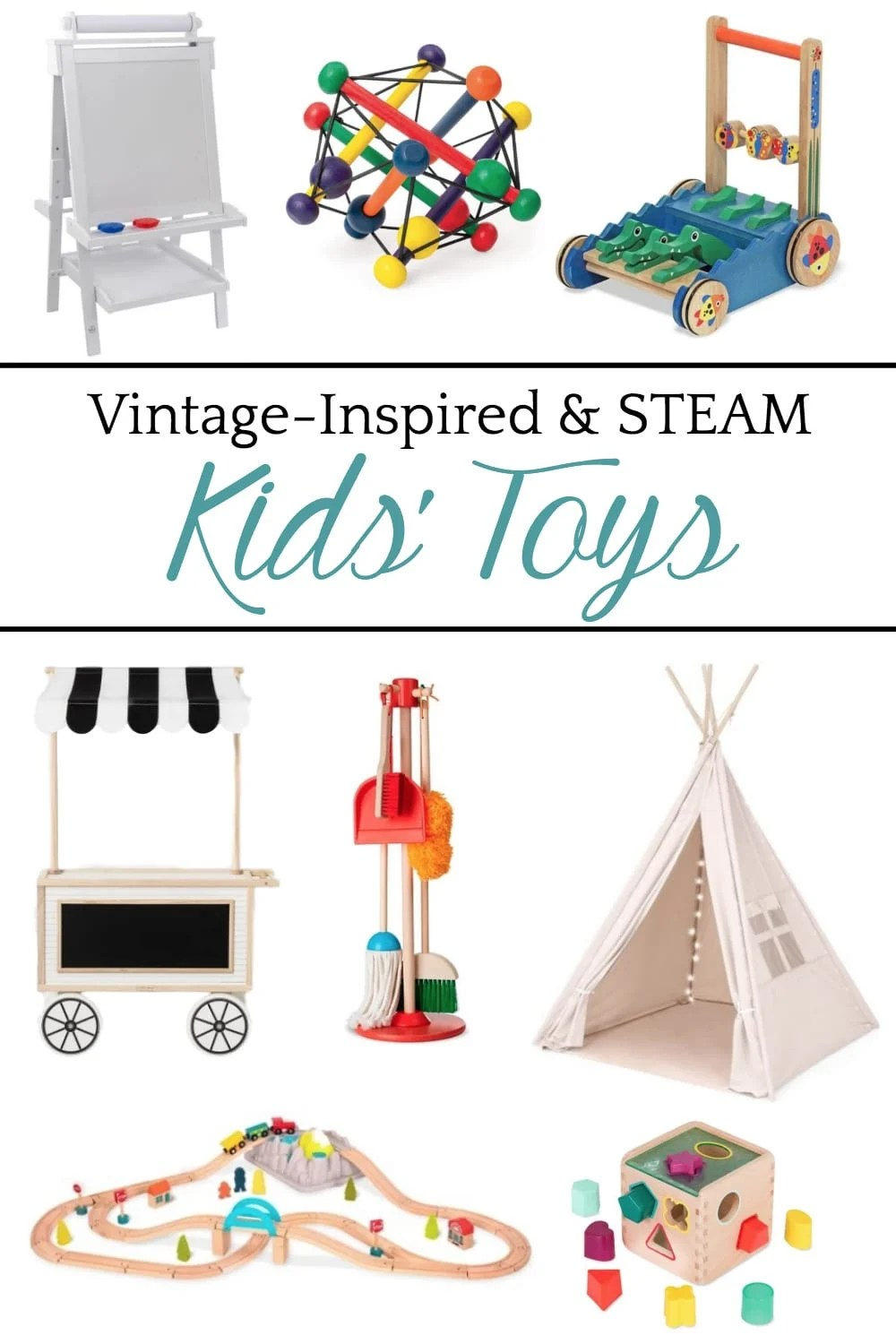 A round-up shopping guide of the most highly rated streamlined modern baby gear and vintage-inspired STEAM toys to inspire sensory development.