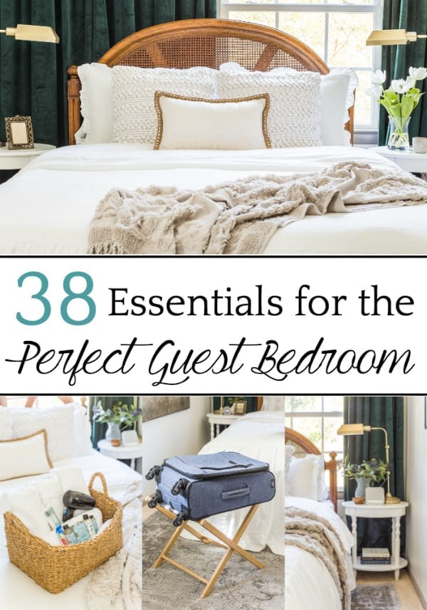 A master list of all of the best amenities and essentials to set up your guest bedroom like a hotel suite to help guests feel pampered and relaxed. #guestbedroom #guestroom #guestbedroomessentials #guestroomessentials #guestroomamenities #perfectguestbedroom