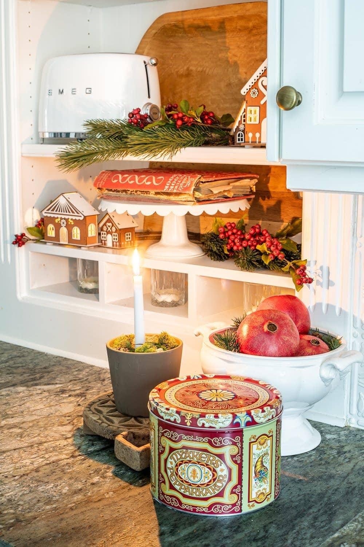 Swedish Christmas kitchen shelves