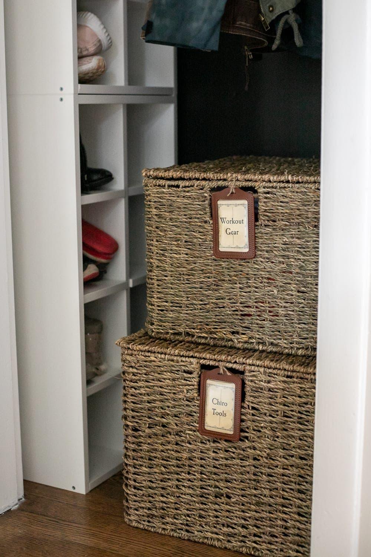coat closet organization baskets and labels