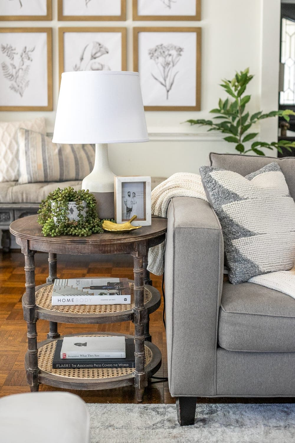 end table decor in a living room