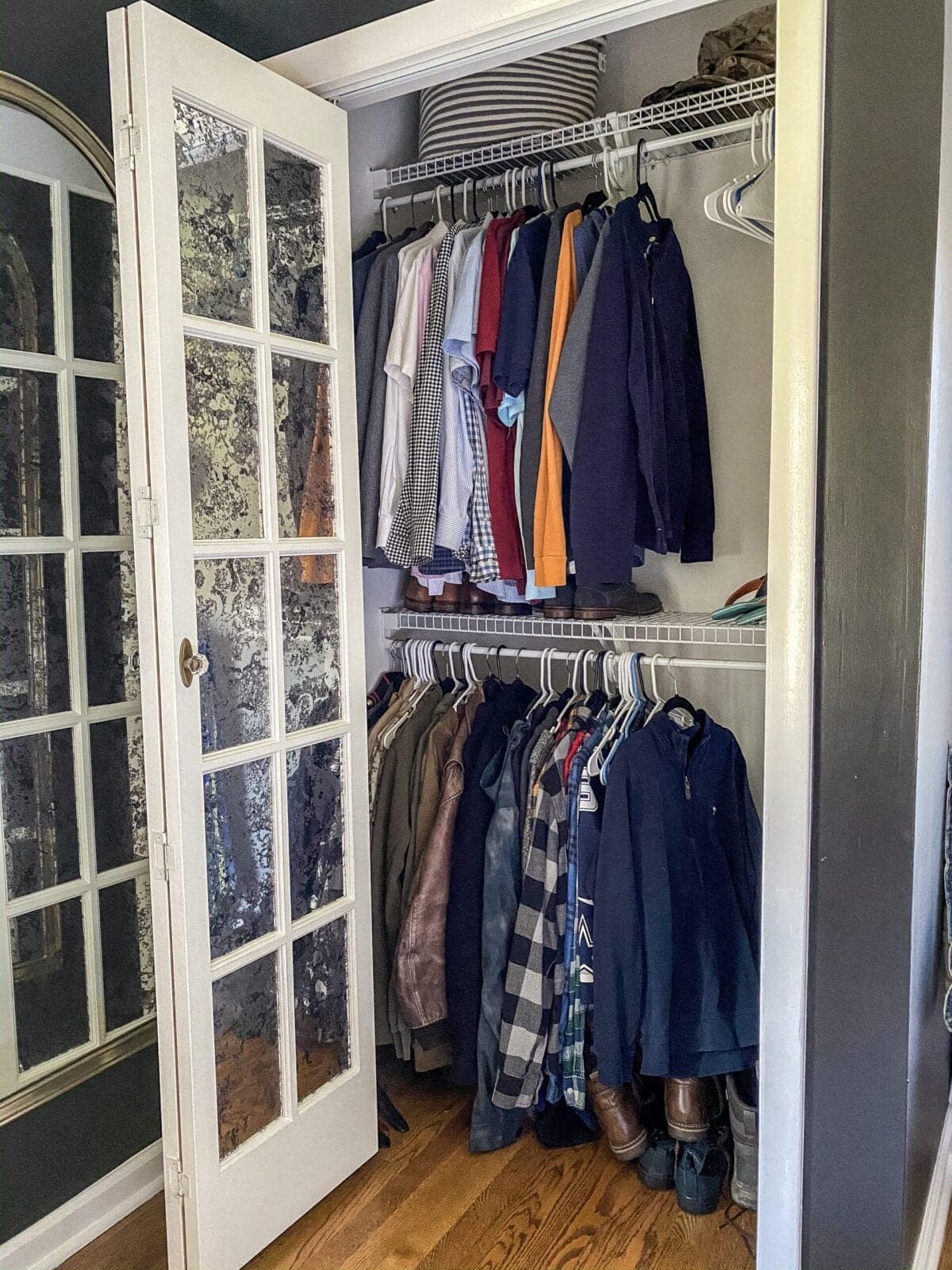 IKEA Closets Using Billy Bookcases | A step-by-step tutorial and budget breakdown for using IKEA Billy bookcases to customize his & her closets in a master bedroom.
