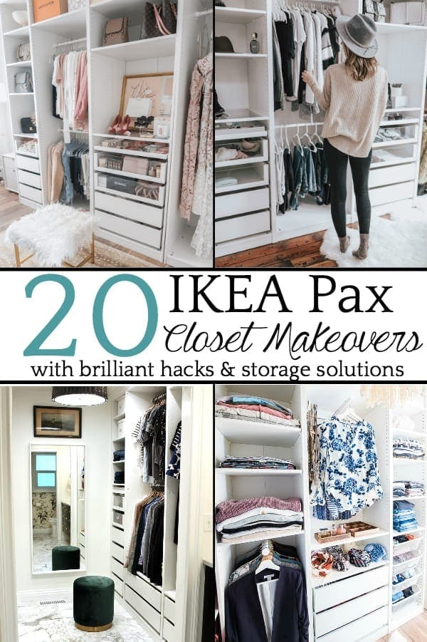 20 Inspiring IKEA Pax Closet Makeovers | A round-up of the best closet makeovers using the IKEA Pax system with hacks to make it look custom and solutions for creating the most functional closet.